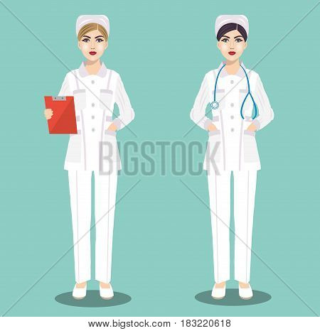 Two young cute nurse in medical uniform with a stethoscope and outpatient card. Vector illustration.