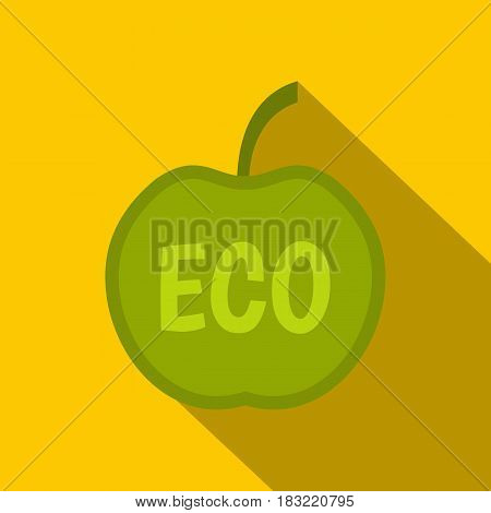 ECO green apple icon. Flat illustration of ECO green apple vector icon for web on yellow background