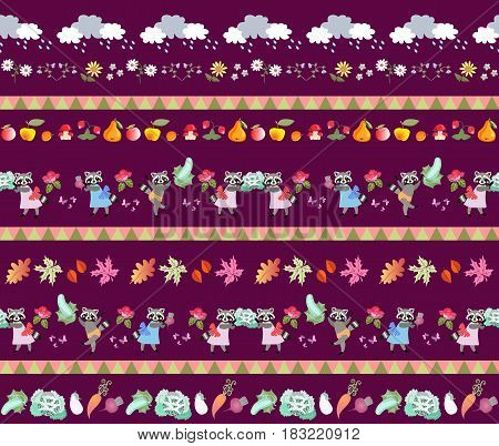 Harvesting. Seamless striped pattern with cute cartoon characters. Little raccoons, clouds, autumn leaves, fruits and vegetables. Fairy tale vector illustration for baby. Print for fabric