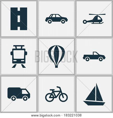 Transportation Icons Set. Collection Of Bicycle, Airship, Way And Other Elements. Also Includes Symbols Such As Yacht, Camion, Truck.