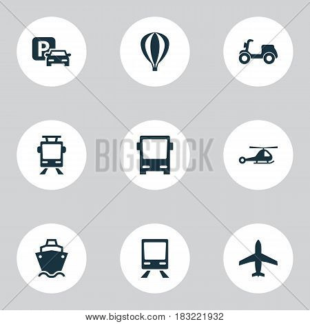 Shipment Icons Set. Collection Of Chopper, Road Sign, Airship And Other Elements. Also Includes Symbols Such As Airplane, Streetcar, Autobus.