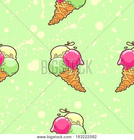Seamless pattern with ice-cream cone in tasty bright colors.