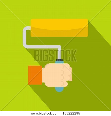 Hand hoding paint roller icon. Flat illustration of hand hoding paint roller vector icon for web on lime background
