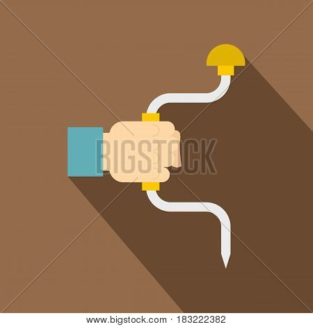 Vintage hand drill in man hand icon. Flat illustration of vintage hand drill in man hand vector icon for web on coffee background