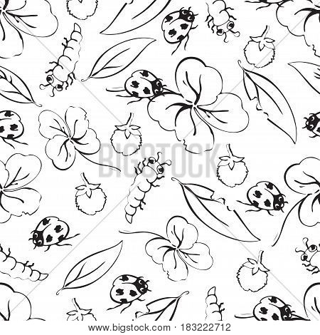 Cartoon black and white hand drawing beetle ladybug and caterpillars, leaves and flowers of clover seamless pattern, monochrome vector background. Funny insects. For fabric design, coloring book