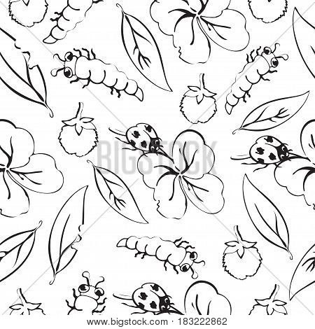 Cartoon black and white hand drawing beetle ladybug and caterpillars, leaves and flowers of clover seamless pattern, monochrome vector background. Funny insects. For fabric design