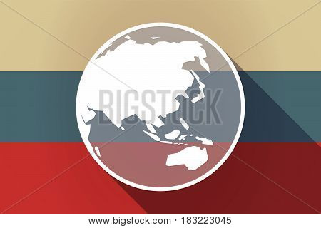 Ong Shadow Russia Flag With  An Asia Pacific World Globe Map