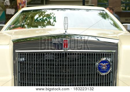 BERLIN - MAY 28: Radiator (engine cooling) and the emblem of the car Lincoln Continental Mark V the exhibition