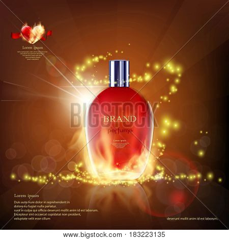 Glass container with a perfume on fire. Cosmetic ads template. Stock vector illustration.