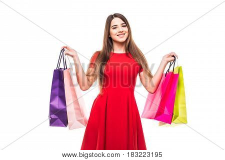 Beautiful Smile Woman With Color Shoping Bags In Hands On White Background