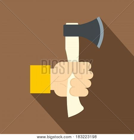 Hand holding axe with wooden handle icon. Flat illustration of hand holding axe with wooden handle vector icon for web on coffee background