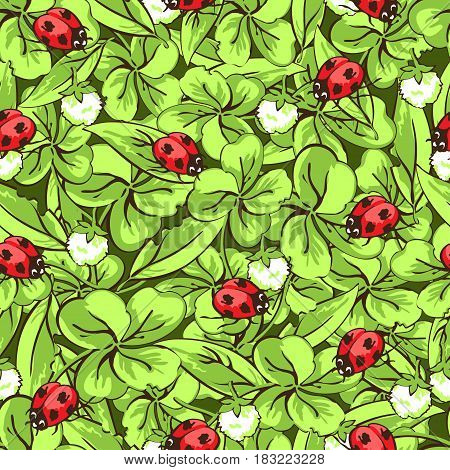 Cartoon hand drawing beetle ladybug, leaves and flowers of clover seamless pattern, vector background. Funny insects on a dark green backdrop. For fabric design, wallpaper, decoration
