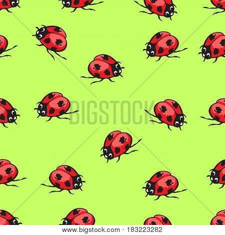 Cartoon hand drawing beetle ladybug seamless pattern, vector background. Funny insects on a green backdrop. For fabric design, wallpaper, wrapper, print, decoration