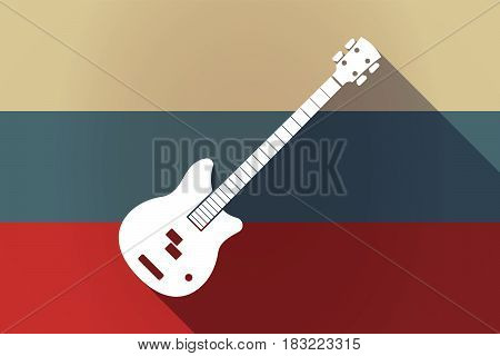 Ong Shadow Russia Flag With  A Four String Electric Bass Guitar