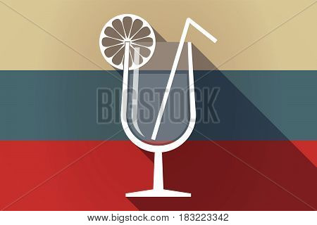 Ong Shadow Russia Flag With  A Cocktail Glass With A Slice Of Lemon And A Straw
