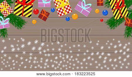 Gift boxes and christmas balls. Vector illustration