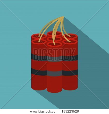 Red dynamite sticks icon. Flat illustration of red dynamite sticks vector icon for web on baby blue background