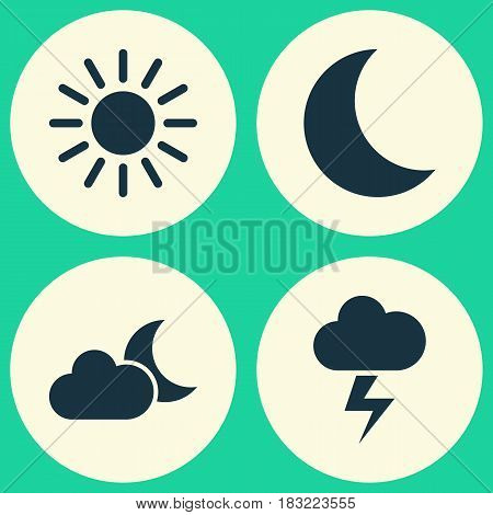 Weather Icons Set. Collection Of Moon, Lightning, Moonlight And Other Elements. Also Includes Symbols Such As Moonlight, Lightning, Outbreak.