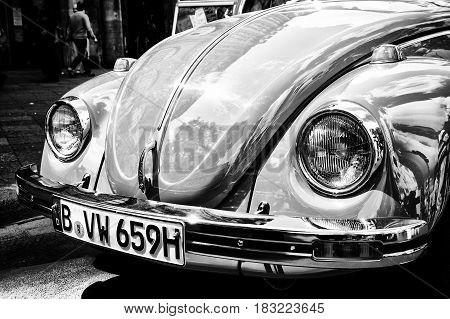 "BERLIN - MAY 28: Car Volkswagen Beetle (Black and White) the exhibition ""125 car history - 125 years of history Kurfurstendamm"" May 28 2011 in Berlin Germany"