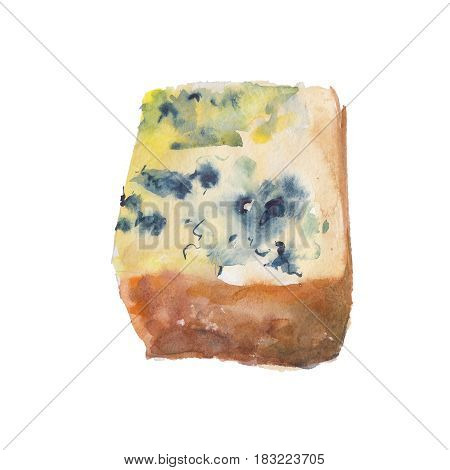 The piece of cheese with a mold isolated on white background watercolor illustration in hand-drawn style.