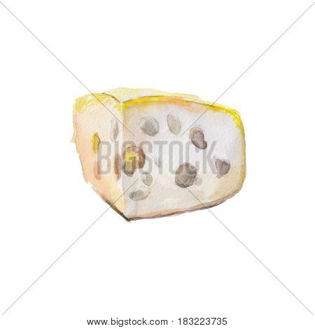 The piece of cheese isolated on white background watercolor illustration in hand-drawn style.