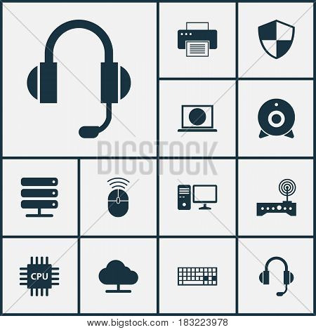 Computer Icons Set. Collection Of Keypad, Tree, Database And Other Elements. Also Includes Symbols Such As Web, Online, Microphone.