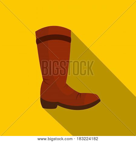 Brown cowboy boot icon. Flat illustration of brown cowboy boot vector icon for web on yellow background