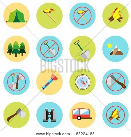 Icons picnic, rest in the forest in a flat style. Vector image on a round colored background. Element of design, interface.