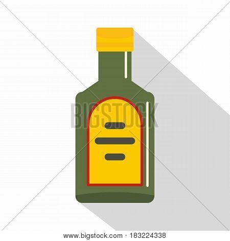 Green bottle of whiskey icon. Flat illustration of green bottle of whiskey vector icon for web on white background