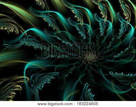 An abstract computer generated modern fractal design on dark background. Abstract fractal color texture. Digital art. Abstract Form & Colors. Abstract fractal element pattern for your design. Spiral dragon flower