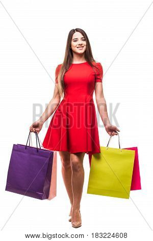 Moving Young Woman With Bags, Shopping Concept, Isolated On White Background