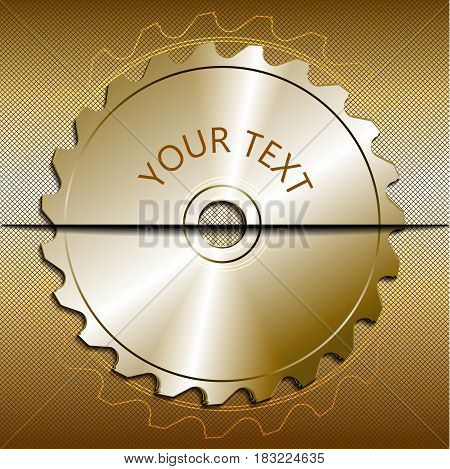 Circular saw blade on a metallic background. Place for text. Vector illustration