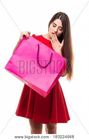 Beautiful Woman Look At Color Shoping Bag With Happy Shocked Face On White Background