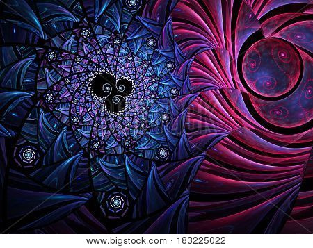 An abstract computer generated modern fractal design on dark background. Abstract fractal color texture. Digital art. Abstract Form & Colors. Abstract fractal element pattern for your design. The reunion of two worlds