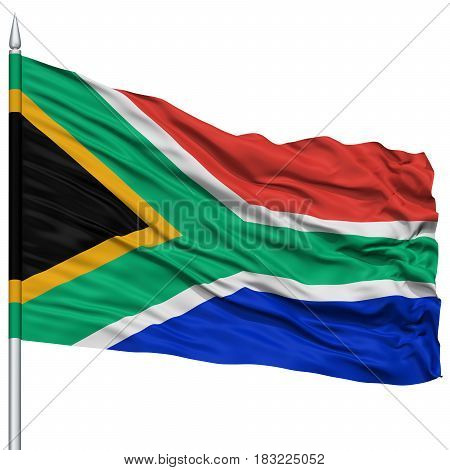 South Africa Flag on Flagpole , Flying in the Wind, Isolated on White Background