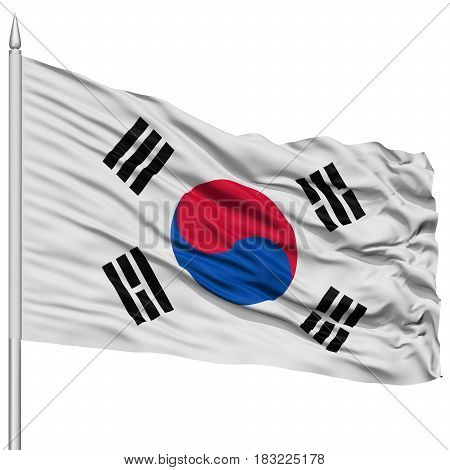 South Korea Flag on Flagpole , Flying in the Wind, Isolated on White Background
