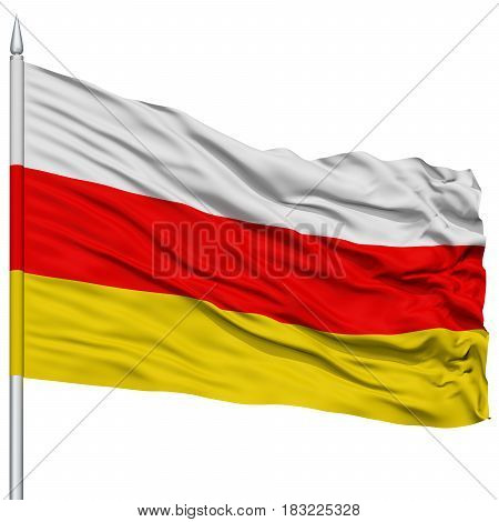South Ossetia Flag on Flagpole , Flying in the Wind, Isolated on White Background