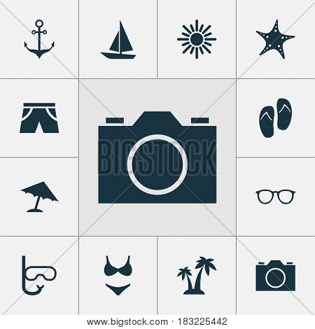 Season Icons Set. Collection Of Trees, Tube, Goggles And Other Elements. Also Includes Symbols Such As Armature, Starfish, Boat.
