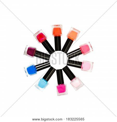 colorful nail polishes isolated on the white background