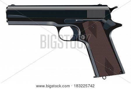 Powerful pistol gun handgun vector illustration ю