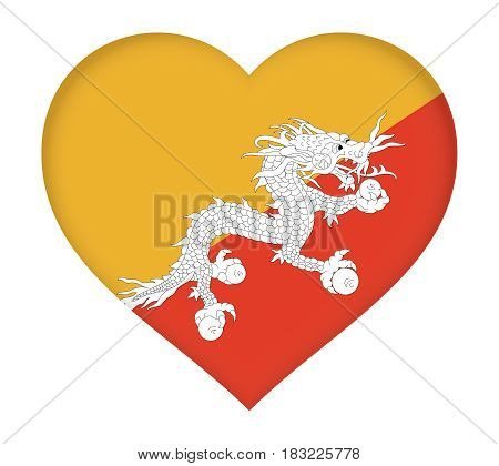 Flag Of Bhutan Heart.