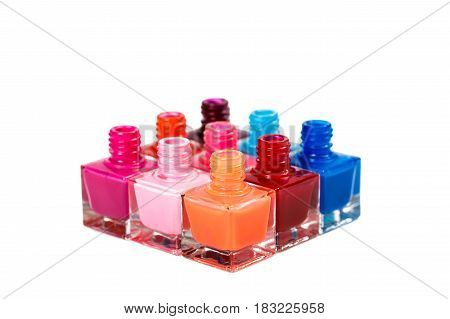 group of nail Polish isolated on the white background