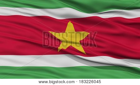Closeup Suriname Flag, Waving in the Wind, High Resolution