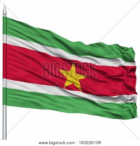 Suriname Flag on Flagpole , Flying in the Wind, Isolated on White Background