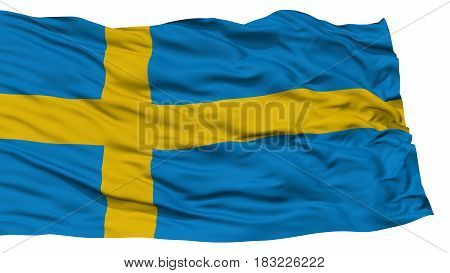 Isolated Sweden Flag, Waving on White Background, High Resolution