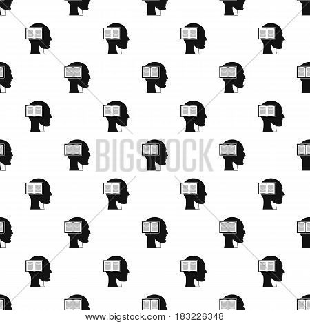 Head with open book pattern seamless in simple style vector illustration