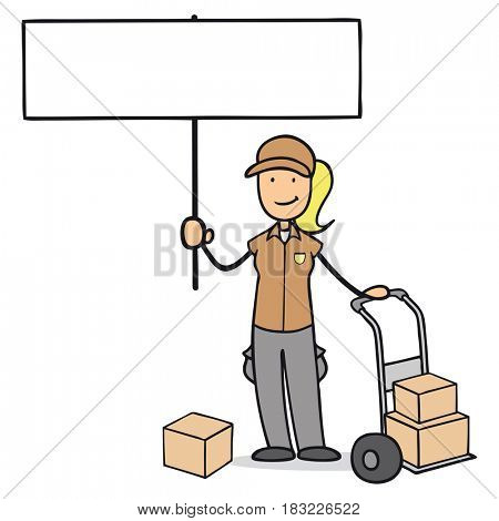 Cartoon character of parcel carrier with empty advertising sign