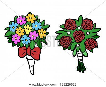 Cartoon of flower bouquets for wedding valentine day or mothers day