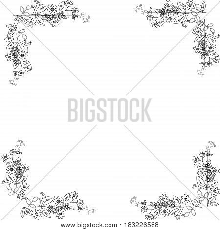 Floral background. Frame Flourish card with copy space.