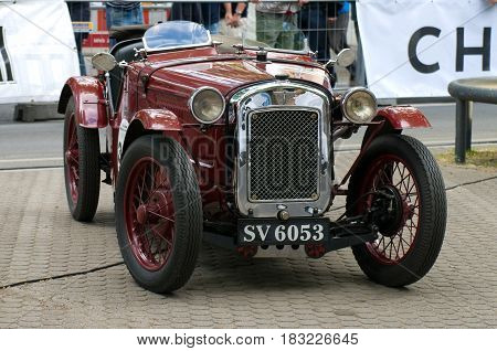 "BERLIN - MAY 28: A sports carAustin 7 65 Sports (1933) the exhibition ""125 car history - 125 years of history Kurfurstendamm"" May 28 2011 in Berlin Germany"